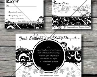 "Wedding Invitation/RSVP/Reception Card ""Fifties Floral"""