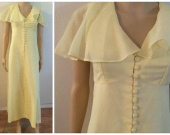 Peter Pan Collar / Yellow Maxi / Empire Waist / summer Dress