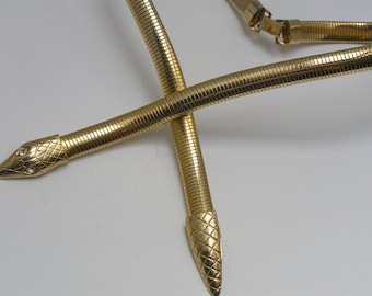 Snake Necklace . Gold Plated Omega Chain Jewelry