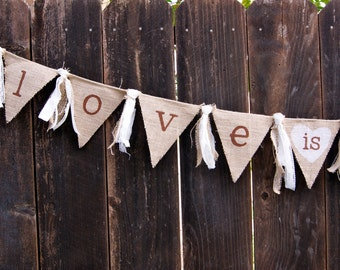 Love Is Sweet Burlap Banner, Wedding Banner, Dessert Table Banner, Engagement Banner, Bridal Shower Banner, Rustic Wedding, Country Wedding
