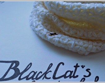 White crochet scarf / handmade scarf  /infinity scarf / knitted scarf