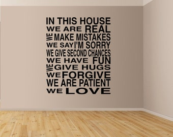 In This House Family Wall Decal, Family Wall Decals
