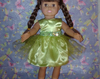 Lime green satin party dress for American Girl doll.