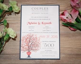 Heart Wedding Invitation, Heart Wedding Invitations, Heart Invitation, Tree Wedding Invitation, Tree Invitations, Tree Wedding Invitations,