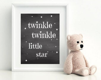 Twinkle Twinkle Little Star Printable, Kids Room Decor, Modern Nursery Art, Playroom Decor, Childrens Printable, Girl Decor