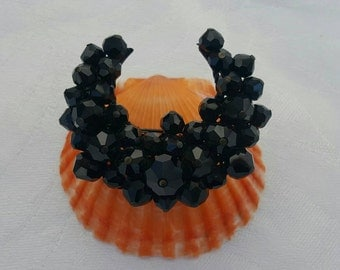 Black Glass Beaded Brooch