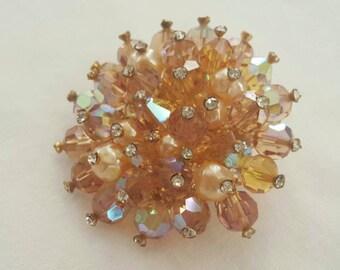 Crystal beaded brooch