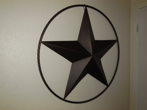 38 barn metal star lone star with rope ring design for Barn star decorations home