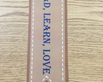 Bookmark (Read, Learn, Love) Brown & Blue