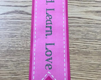 Bookmark (Read, Learn, Love) Pink & Green