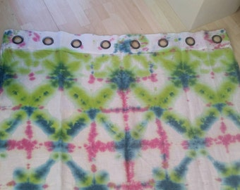 Hand dyed linen curtain panel