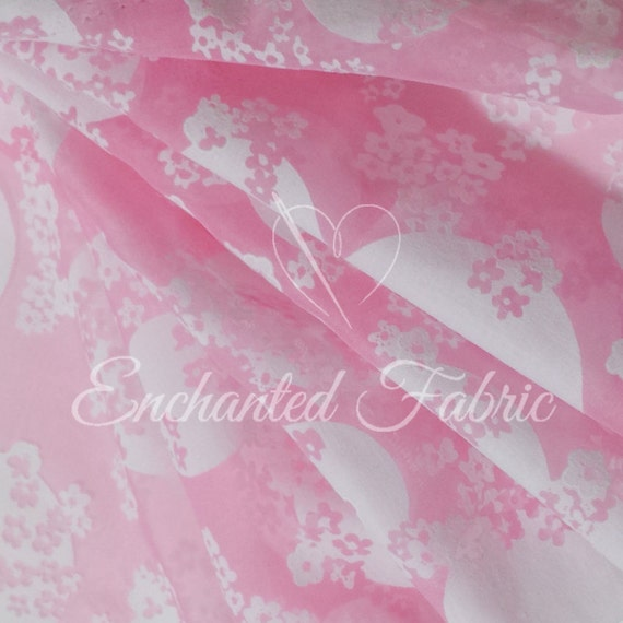 Pink And White Floral Pattern Woven Fabric By The Yard For