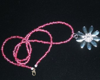 Bright Blush, Punch Pink,Flower Charm Necklace, Beaded By Hand
