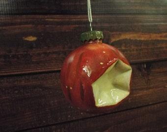 Hand painted Bitten Apple Christmas Tree Ornament