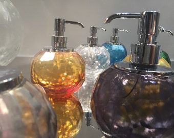 Soap dispenser in crystal with Kromo pump bath made in italy Dosatore sapone