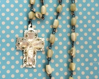 Vintage carved mother of pearl cross and bead necklace