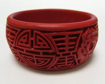 Vintage Red Cinnabar Oriental Carved Bangle Bracelet