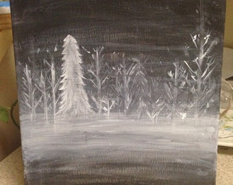 Foggy Trees Painting in Black