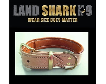 Natural Pure Leather Dog Collar with Soft Rust Suede Leather Padded Inner Lining & Brass Fittings