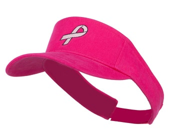 Hot Pink Ribbon Breast Cancer Embroidered Visor