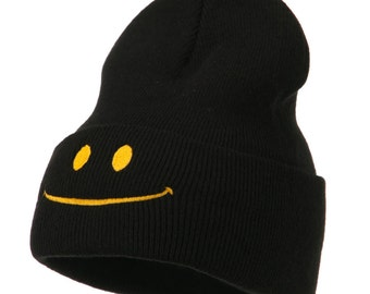 Happy Smiley Face Embroidered Knit Beanie