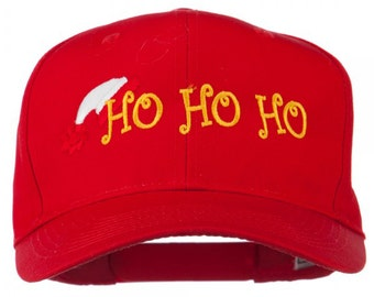 Christmas Ho Ho Ho with Hat Embroidered Cap