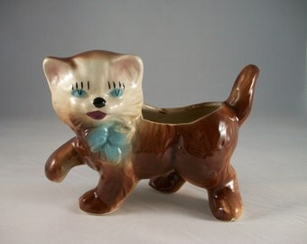 Vintage Ceramic Cat Planter Kitschy Cottage Chic Cat Lover Retro Unique