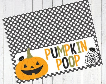 pumpkin poop halloween bag topper spider web printable - Pumpkin Poop Bag Toppers Printable