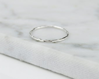 Skinny 1mm Hammered Ring in Sterling Silver - Minimalist, Hammered, Textured