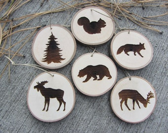 Woodland Christmas  Ornaments | Wood Slice Ornaments