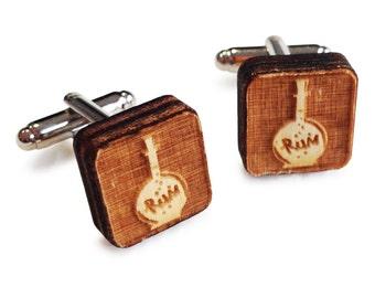 Wooden Cufflinks: Rum FREE WORLDWIDE SHIPPING