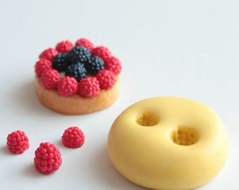 Raspberry, BlackBerry realistic 4mm and 5mm silicone mould. For fimo, resin or plaster