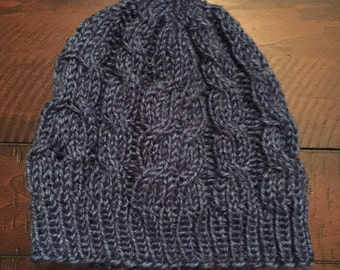 Cable Knit Beanie - Olympic Blue