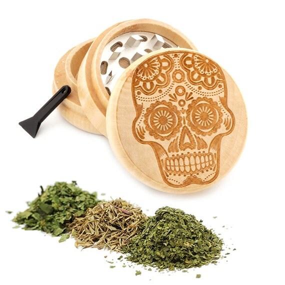 Sugar Skull Engraved Premium Natural Wooden Grinder Item # PW050916-89