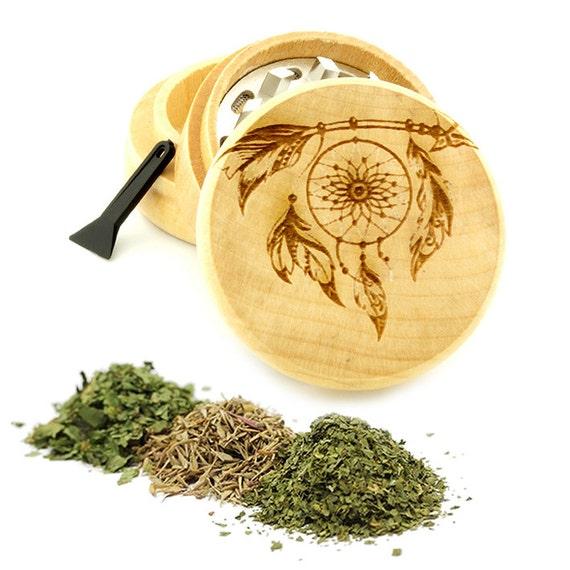 Dream Catcher Engraved Premium Natural Wooden Grinder Item # PW61716-44