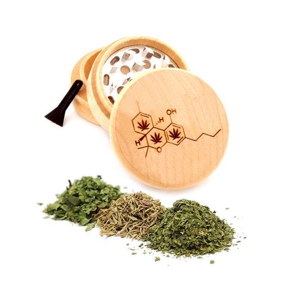 Leaf Formula Engraved Premium Natural Wooden Grinder Item # PW91316-44