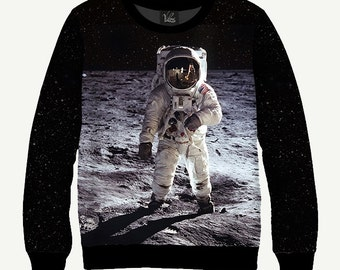 Astronaut On The Moon, Spaceman, NASA - Men's Women's Sweatshirt | Sweater - XS, S, M, L, XL, 2XL, 3XL, 4XL, 5XL
