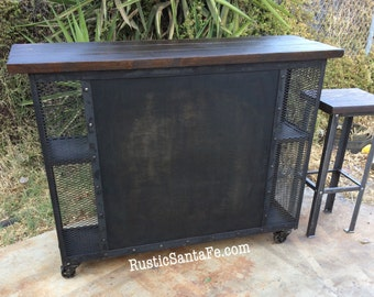 Industrial hostess stand, home bar, breakfast bar, bar height table, rustic wood and steel bar