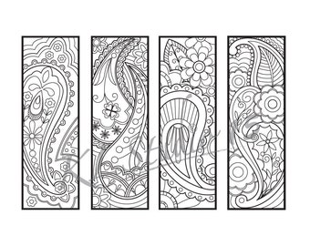 Paisley Coloring Bookmarks Page Instant Download Relax Mandala Designs To Color For Adults