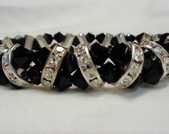 Crystal Beaded Bracelet...Crystal Bracelet...Swarovski Jet Black Crystal Bracelet...360 Cuff Bracelet