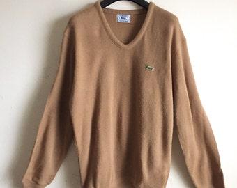 Vintage Mocha IZOD Lacoste V Neck Pullover Sweater