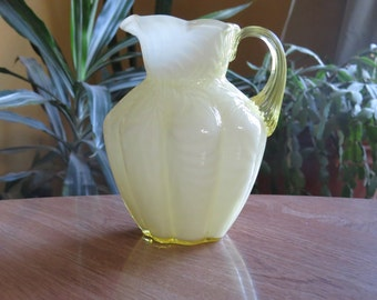 Vintage Fenton Milk Glass Yellow Creamer Pitcher