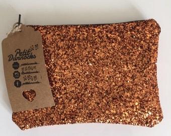 Copper evening bag, glitter clutch bag, Copper glitter clutch bag, evening clutch bag, wedding clutch bag, prom clutch bag, orange bag
