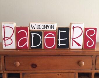 University of Wisconsin Badgers Decor Blocks