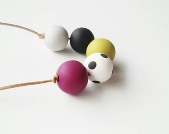 Chunky bead polymer clay necklace winter colours mustard burgundy black dots statement