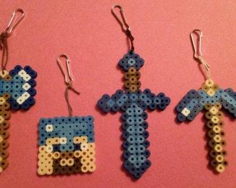 Diamond Minecraft Inspired Axe, Steve, Sword, and Pickaxe