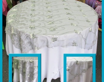Grey Guipure 4327 Table Overlay Wedding And Party Supplies 54X54 / 72x72 /  80x80 / 90x90