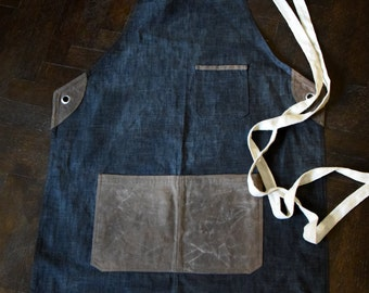 Waxed Denim and Canvas Apron. Egyptian Cotton. Cross Back Apron