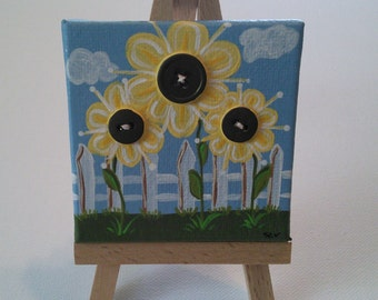 Yellow Flowers/3x3/Small Art Work w/easel