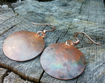 Rustic flame patinaed round copper earrings